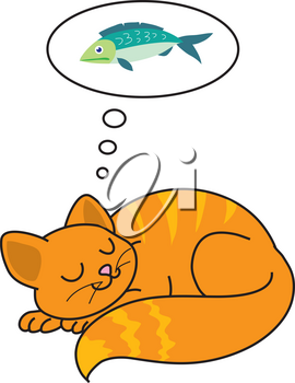 Clipart Illustration of a Cat Dreaming of Fish