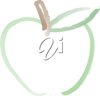 Clip Art Illustration of a Green Apple