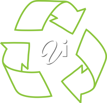 Clip Art Illustration of a Green Recycling Symbol