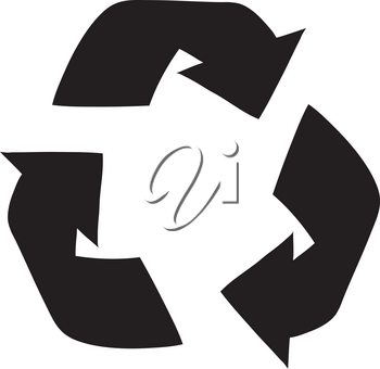 Clip Art Illustration of a Recycling Symbol