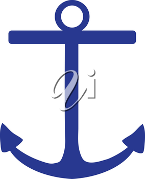 Clip Art Illustration Of A Dark Blue Boat Anchor