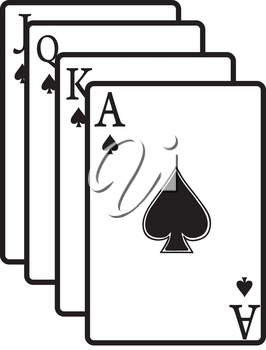 Clip Art Illustration Of A Group Of White Spades Playing Cards