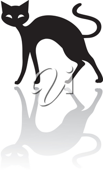 Clip Art Illustration Of The Silhouette Of A Black Cat