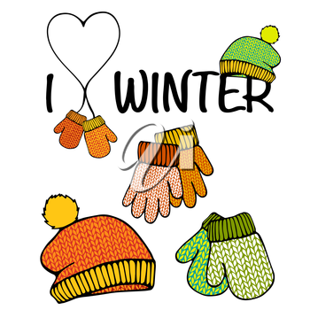 Vector set of isolated winter accessories