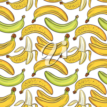 Bananas on white background, bright colorful seamless pattern, template for your design. Fresh fruits collection. Decorative hand drawn doodle vector illustration