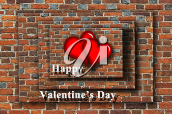 beloved hearts with inspiration Happy Valentine's Day on the wooden background