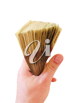 Ukrainian money in the hand isolated on the white background