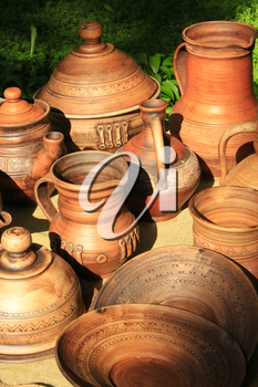 ceramic handmade brown earthenware like pots and carafe on sale