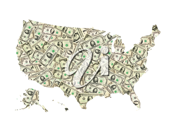 isolated map of United States of America from dollar