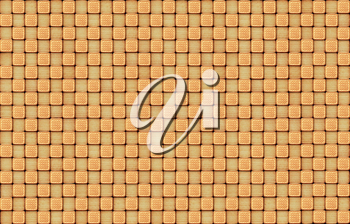 brown texture from pastry with patterns on the brown. Food texture from cookies as on a chess-board