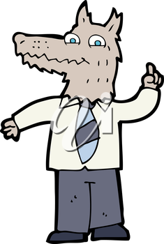 Royalty Free Clipart Image of a Werewolf in a Suit