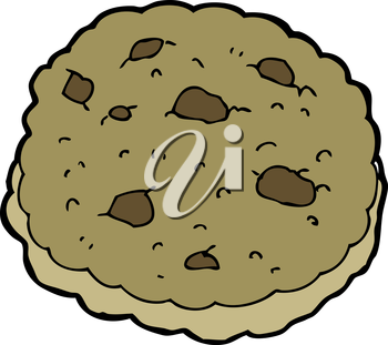 Royalty Free Clipart Image of a Chocolate Chip Cookie