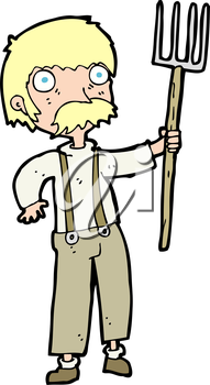 Royalty Free Clipart Image of a Farmer with a Pitchfork