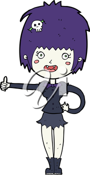 Royalty Free Clipart Image of a Vampire Giving a Thumbs Up