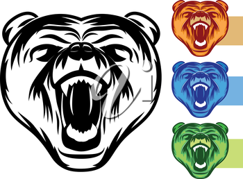 Angry bear icon collection