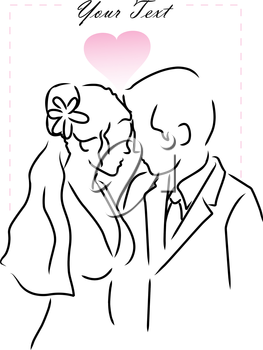 Illustration of a breid and groom with a heart background