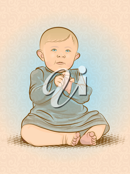 Watercolor styled infant illustration