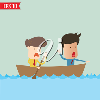 Cartoon business man  rowing a boat - Vector illustration - EPS10