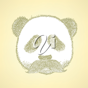 Sketch panda with mustache, vector vintage background