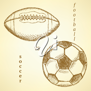 Sketch soccer versus american football ball, background
