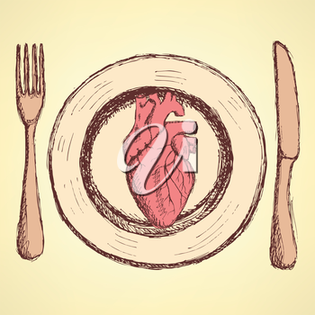 Sketch human heart on the plate in vintage style, unexpected vector