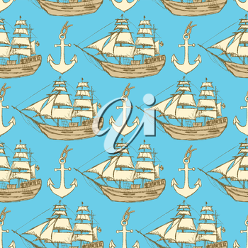 Sketch anchor and ship in vintage style, vector