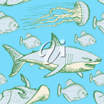Sketch sea creatures in vintage style, vector seamless pattern