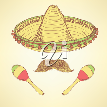 Sketch cinco de mayo banner in vintage style, vector