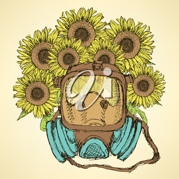 Sketch respiratory mask with sunflower in vintage style, vector