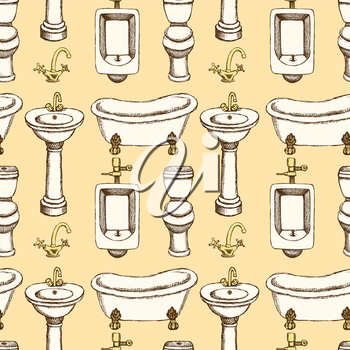 Sketch bathroom and toilet equipment in vintage style, vector seamless pattern