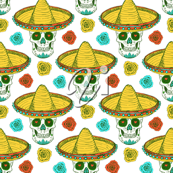 Sketch mexican skull in hat with roses in vintage style, vector seamless pattern