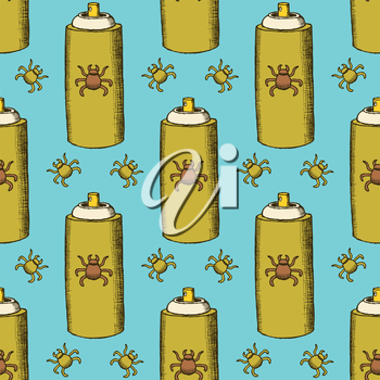 Sketch dezinfection pattern in vintage style, vector