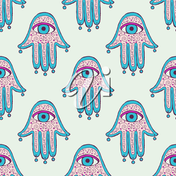 Sketch hamsa in vintage style, vector seamless pattern