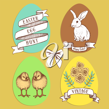 Easter edd hunt set in vintage style, vector