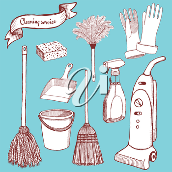 Sketch cleaning set in vintage style, vector