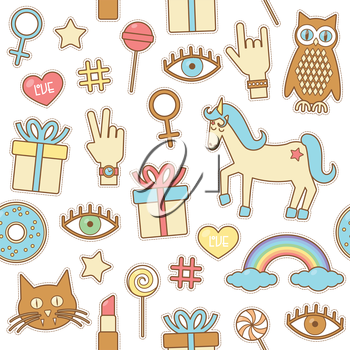 Fashion patches, vector seamless pattern eps 10