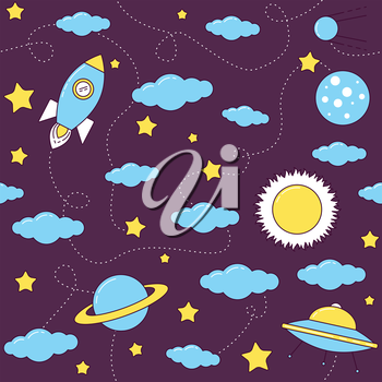 Space pattern with stars and clouds. Rocket and UFO flying among planets, Sun, Saturn and Moon.