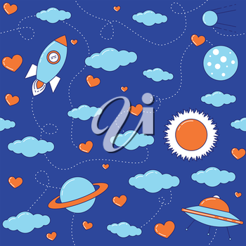 I love you to the Moon and back seamless pattern with rocket, UFO spaceship, planets, clouds and hearts.