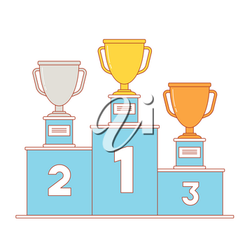 Winner's podium with gold, silver and bronze trophy. Line art illustration.