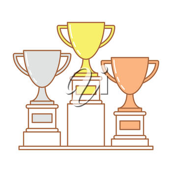 Trophy cup set of golden, bronze and silver cup, vector concept