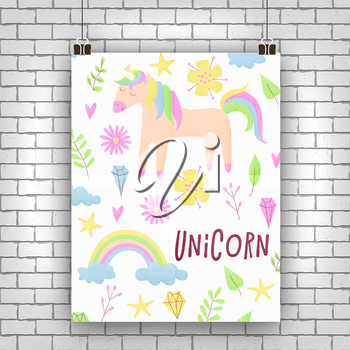 Unicorn design set with clouds and rainbow, stipple design