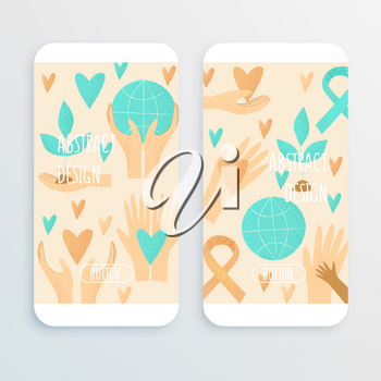 Philanthropy design, vector donation concept, charity illustration. Cell phone mockup