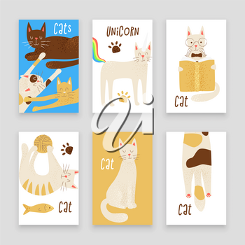 Cats vector poster concept, friendly and childish design
