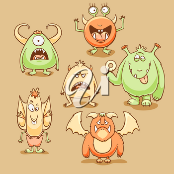 Monsters cartoon set, vector illustration with different emotions