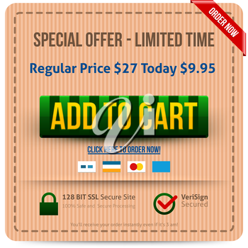 Green Add To Cart button with yellow text. Vector illustration.