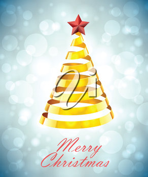 Abstract Gold Ribbon Christmas Tree On Grey Blue Background. Abstract Gold New Year Tree On Grey Blue Background