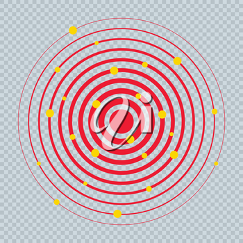 Pain Circle Red Icon with Yellow Dots. Medical Painkiller Drug Medicine Sign. Red Circle Waves Target Big Round Spot. Pill Medication Design Concept of Body. Muscular Joint Pain Template