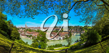 Panoramic view of Bern and Berner Munster cathedral in a beautiful summer day, Switzerland