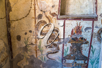 Painted wall in Pompeii city destroyed in 79BC by the eruption of volcano Vesuvius, Italy in a beautiful summer day