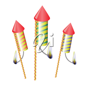 colorful illustration with petards on a white  background for your design